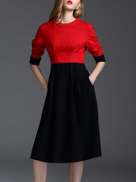 Black Color-block Cotton-blend Casual Midi Dress