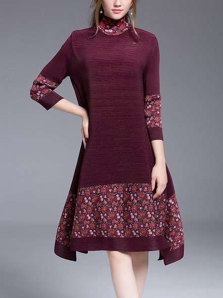 Ribbed Floral Turtleneck Vintage Printed Midi Dress