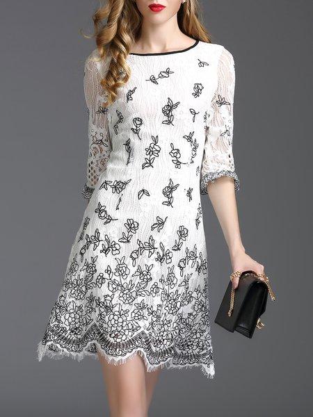 White Crocheted Frill Sleeve Sheath Bateau/boat Neck Mini Dress