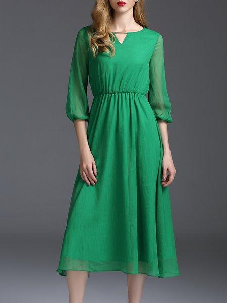 Green Plain Keyhole 3/4 Sleeve A-line Midi Dress
