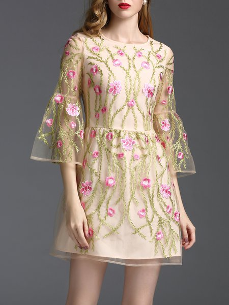 Apricot Crew Neck Frill Sleeve Embroidered Mini Dress