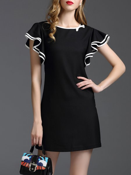 Frill Sleeve Girly Ruffled Plain Mini Dress
