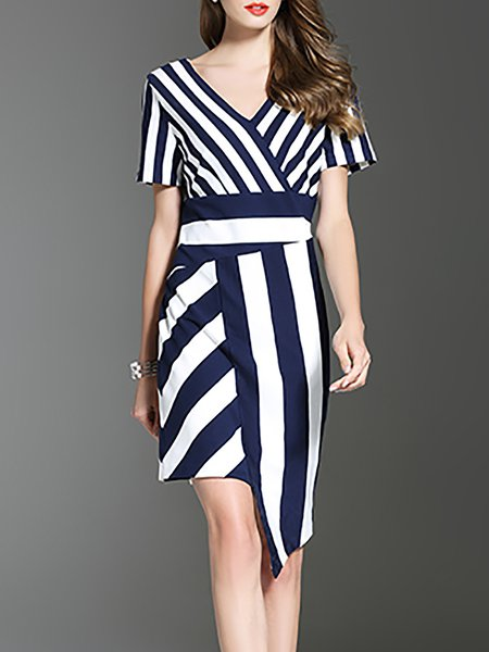 Navy Blue Cotton-blend Casual Stripes Midi Dress