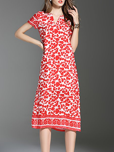 Casual Short Sleeve Floral-print H-line Silk Midi Dress