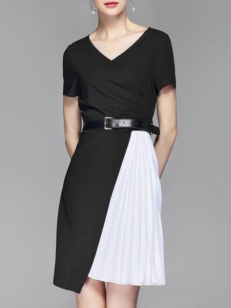 White V Neck Solid A-line Statement Midi Dress
