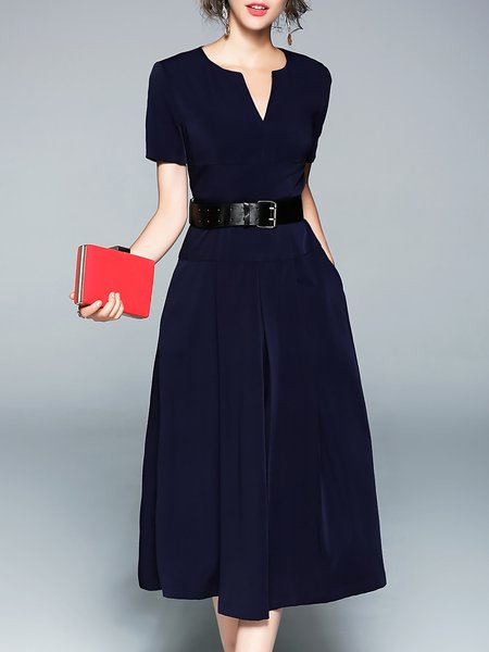 Elegant Polyester A-line Short Sleeve Midi Dress