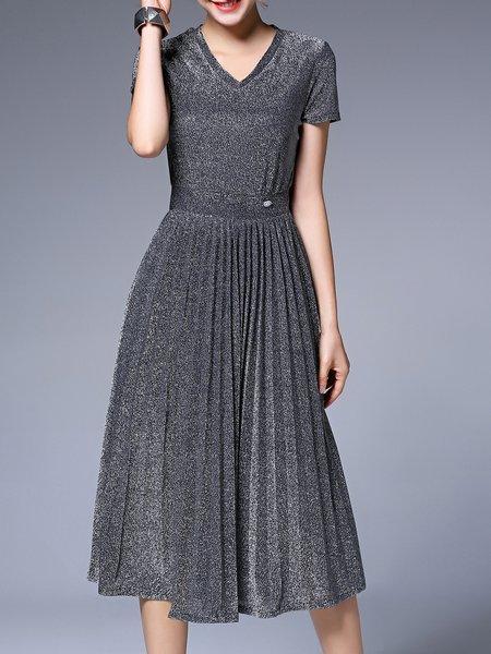 Solid Casual Short Sleeve Midi Dress