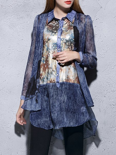 Blue Printed High Low Long Sleeve Tunic