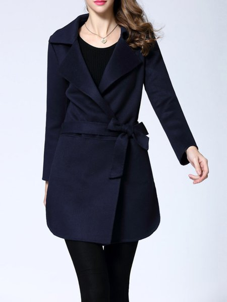 Navy Blue Pockets Long Sleeve Coat