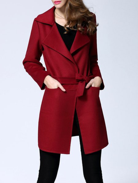 Red Pockets Work Plain Wool Blend Coat