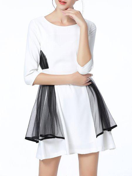 White 3/4 Sleeve Crew Neck A-line Paneled Mini Dress