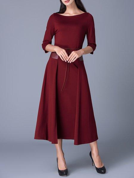 Crimson 3/4 Sleeve A-line Midi Dress