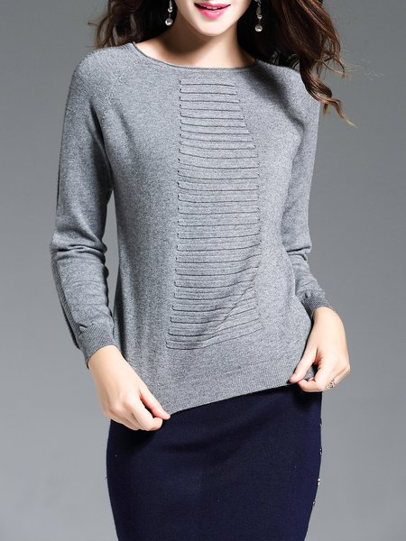 Gray Long Sleeve Crew Neck Solid Sweater
