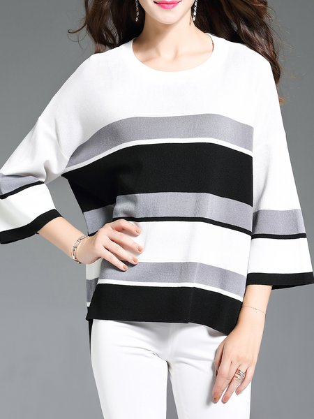Casual Color-block 3/4 Sleeve Stripes Sweater
