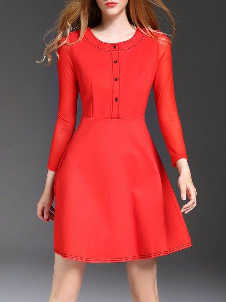 Buttoned 3/4 Sleeve A-line Elegant Mini Dress