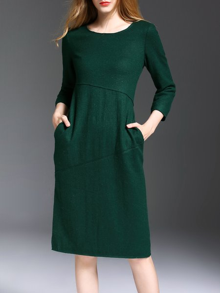 3/4 Sleeve Sheath Casual Midi Dress