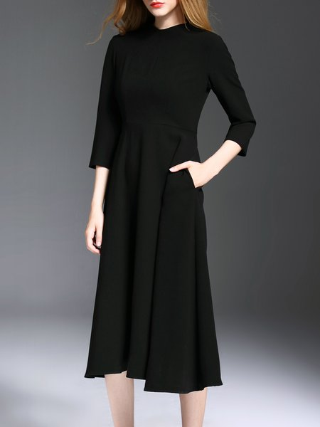 Black 3/4 Sleeve Embroidered Polyester Plain Midi Dress