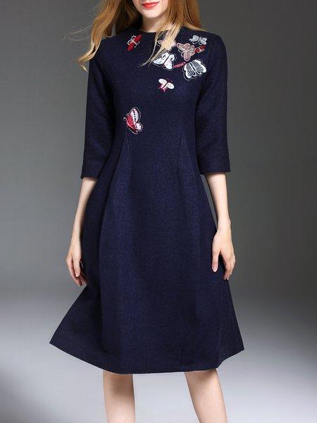 Navy Blue Wool Embroidered 3/4 Sleeve Midi Dress
