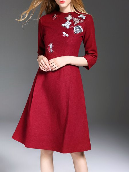 Red 3/4 Sleeve Embroidered Midi Dress