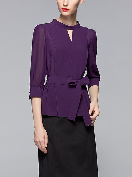 Purple Plain 3/4 Sleeve Keyhole Long Sleeved Top