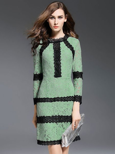 Light Green Elegant Long Sleeve Color-block Lace Midi Dress