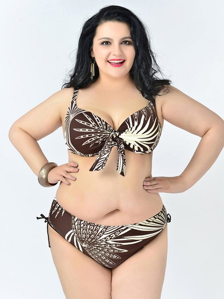 Plus Size Wire Color-block Straped Push Up Bikini