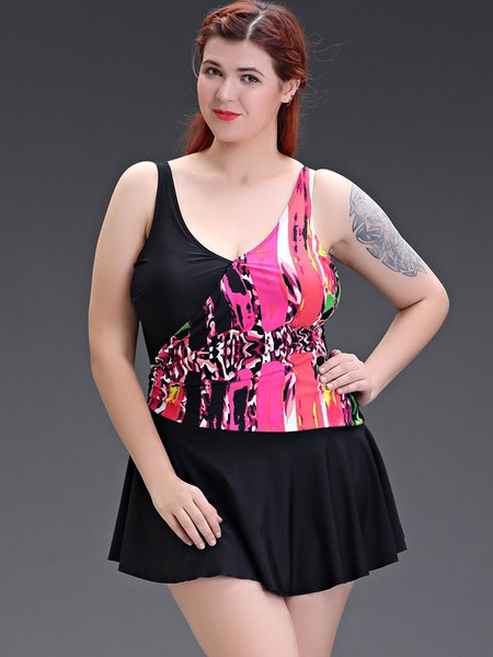 Plus Size Wireless Padded Abstract Color-block  Straped Tankini