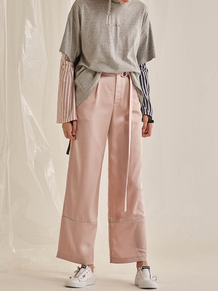Pink H-line Statement Wide Leg Pants with Belt