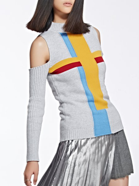 Multicolor Crew Neck Cold Shoulder Knitted Geometric Sweater