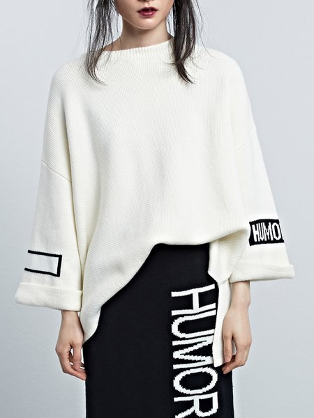 Knitted Letter Crew Neck Long Sleeve Statement Asymmetric Sweater