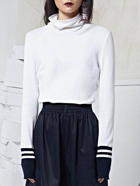 White Knitted Paneled Turtleneck Stripes Long Sleeve Top