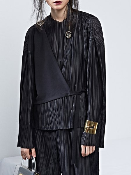 Pleated  Asymmetric Statement Long Sleeve Top