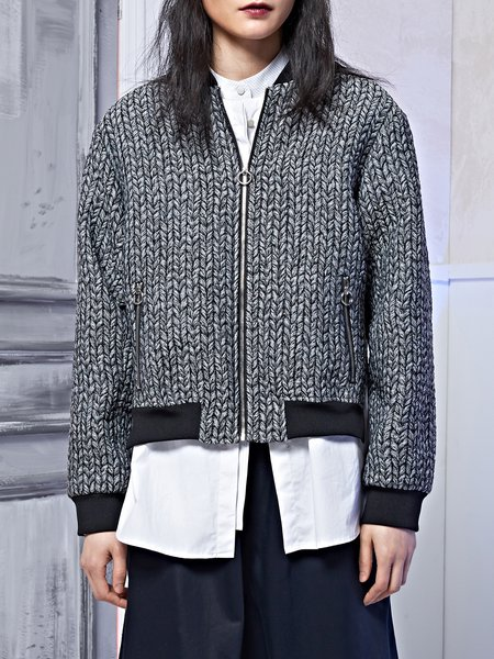 Statement Long Sleeve Woven Paneled Bomber Jacket
