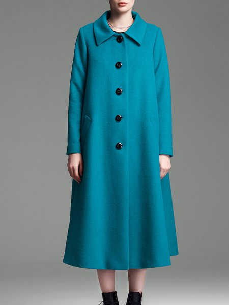 Swing Wool Blend Elegant Long Sleeve Buttoned Coat