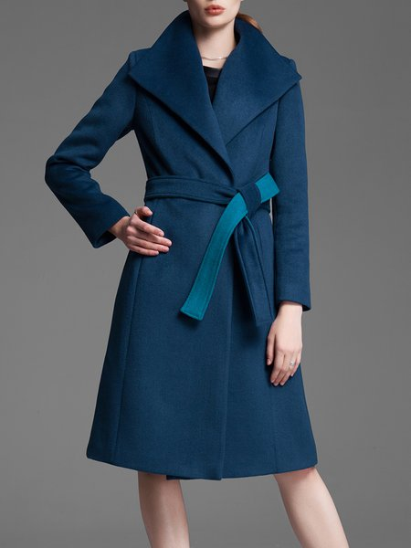 Blue Elegant Wool Blend Lapel Plain Coat With Belt