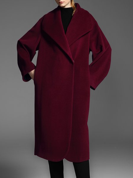 Wine Red Plain Long Sleeve Wool Coat