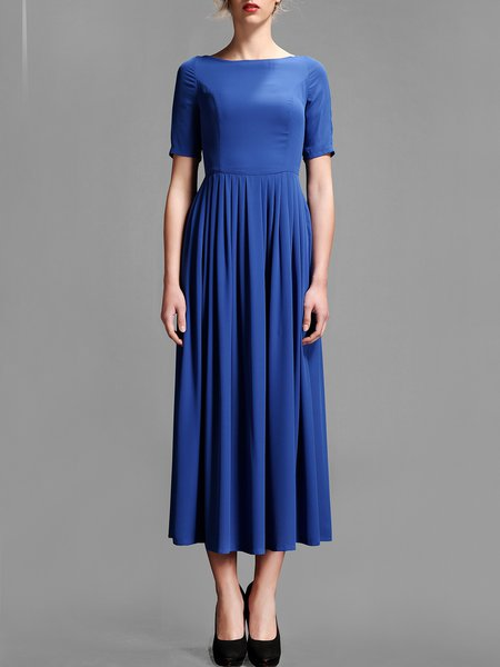Royal Blue Pleated Polyester Short Sleeve Swing Midi Dress