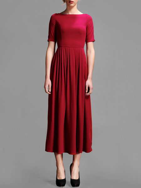 Wine Red Short Sleeve Plain Pleated Midi Dress