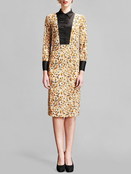 Beige Sheath Abstract Printed Shirt Collar Vintage Midi Dress