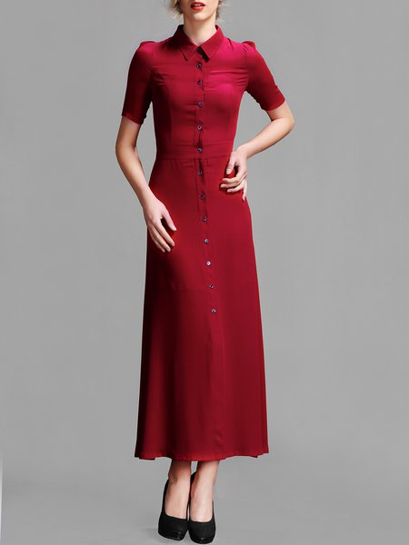 Wine Red Vintage Shirt Collar Plain Maxi Dress