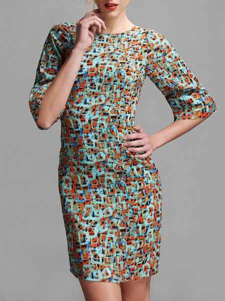 Blue Half Sleeve Polyester Abstract Printed Mini Dress