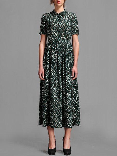 Green Printed Polka Dots Folds Short Sleeve Midi Dress