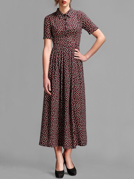 Red Polka Dots Short Sleeve Printed Sheath Midi Dress