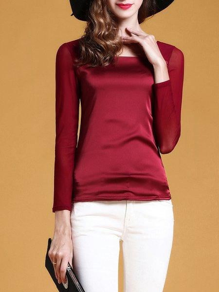 Square Neck Basic Long Sleeve Long Sleeved Top
