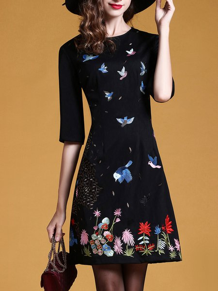 Casual A-line Embroidered Midi Dress