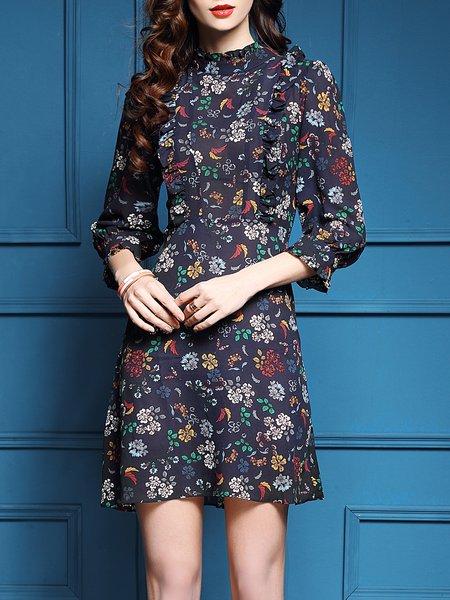 Casual 3/4 Sleeve A-line Floral Ruffled Cutout Mini Dress