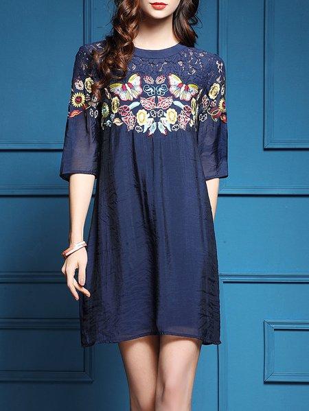 Navy Blue Lace Paneled Casual A-line Animal Print Mini Dress