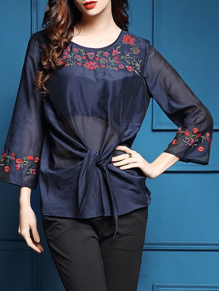 Silk-blend Casual Floral Embroidered Long Sleeve Blouse