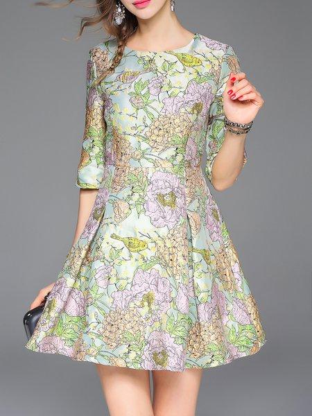 Multicolor Crew Neck Floral Folds Half Sleeve Skater Mini Dress