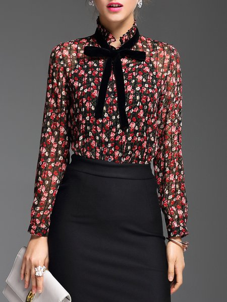 Ruffled Long Sleeve Elegant Floral Blouse